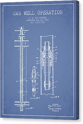 Gas Well Operation Patent From 1937 - Light Blue Canvas Print by Aged Pixel