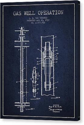 Gas Well Operation Patent From 1937 - Navy Blue Canvas Print by Aged Pixel