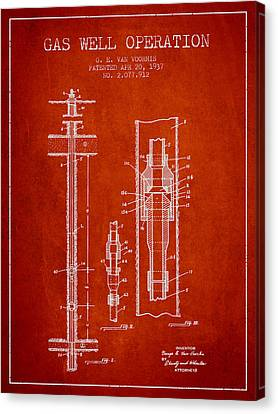 Gas Well Operation Patent From 1937 - Red Canvas Print by Aged Pixel