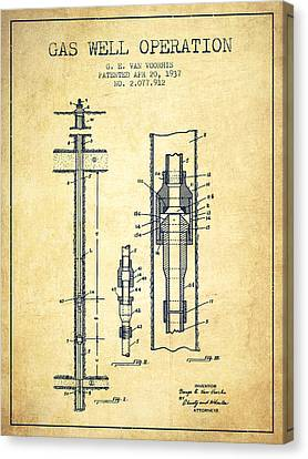 Gas Well Operation Patent From 1937 - Vintage Canvas Print by Aged Pixel