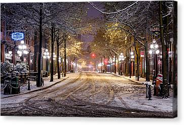 Gastown Snow Canvas Print by Alexis Birkill