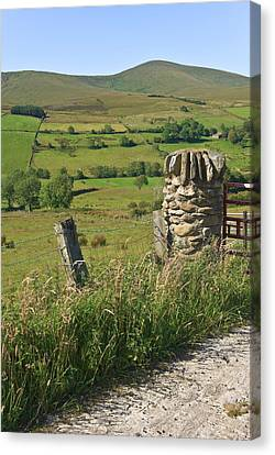 Gatepost In The Sperrin Mountains Canvas Print by Jane McIlroy