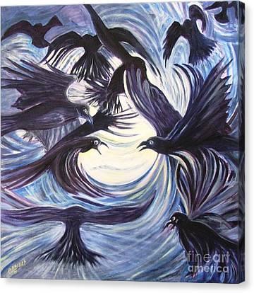 Gathering Of The Ravens Canvas Print by Caroline Street