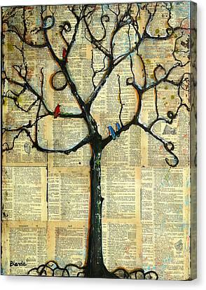 Gathering Place Winter Tree Canvas Print by Blenda Studio
