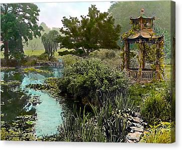 Gazebo And Pond Canvas Print by Terry Reynoldson