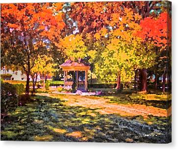 Gazebo On A Autumn Day Canvas Print by Thomas Woolworth