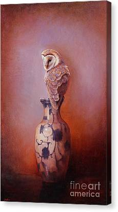 Gazing - Barn Owl Canvas Print by Lori  McNee