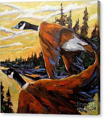 Geese In Flight Canvas Print by Richard T Pranke