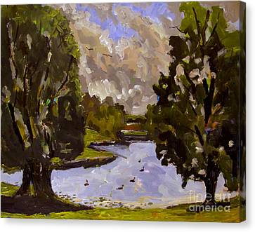 Geese On Raders Pond Canvas Print by Charlie Spear