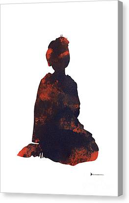 Geisha Figurine Artwork Watercolor Painting Poster Canvas Print by Joanna Szmerdt