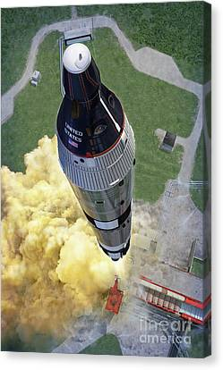 Gemini Titan Launch Canvas Print by Stu Shepherd