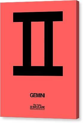 Gemini Zodiac Sign Black Canvas Print by Naxart Studio