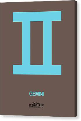 Gemini Zodiac Sign Blue Canvas Print by Naxart Studio