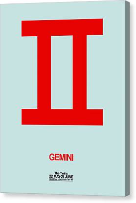 Gemini Zodiac Sign Red Canvas Print by Naxart Studio