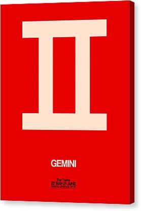 Gemini Zodiac Sign White On Red Canvas Print by Naxart Studio