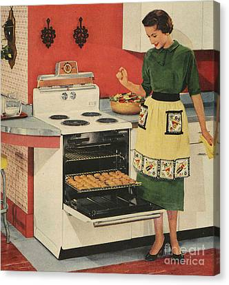 General Electric 1950s Usa  Ovens Canvas Print by The Advertising Archives