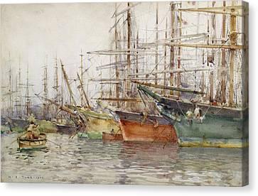 Genoa Harbour, 1904 Canvas Print by Henry Scott Tuke