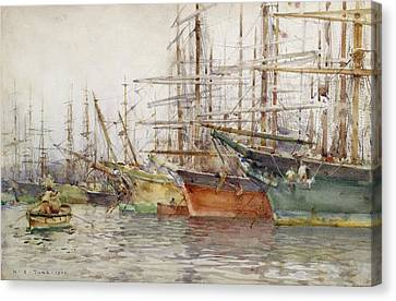 Genoa Harbour, 1904 Canvas Print by Henry Scott Tuke