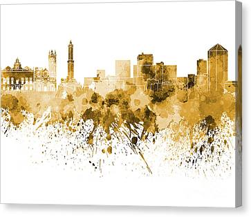 Genoa Skyline In Orange Watercolor On White Background Canvas Print by Pablo Romero