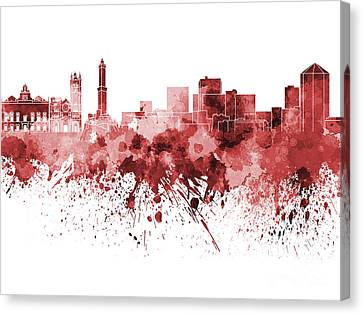 Genoa Skyline In Red Watercolor On White Background Canvas Print by Pablo Romero