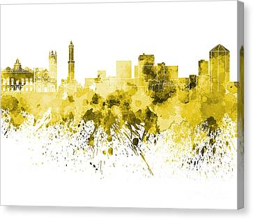 Genoa Skyline In Yellow Watercolor On White Background Canvas Print by Pablo Romero