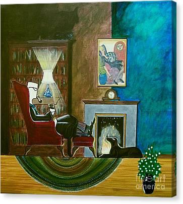 Gentleman Sitting In Wingback Chair Enjoying A Brandy Canvas Print by John Lyes