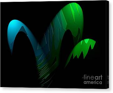 Geometric Art Designs In Blue And Green Canvas Print by Mario Perez