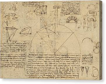 Geometrical Study About Transformation From Rectilinear To Curved Surfaces And Vice Versa From Atlan Canvas Print by Leonardo Da Vinci