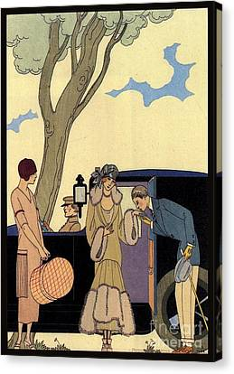 George Barbier. Arrival Of A Fashionable Lady Canvas Print by Pierpont Bay Archives