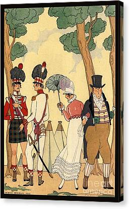 George Barbier. Lady Out For A Walk With Her Father. Canvas Print by Pierpont Bay Archives