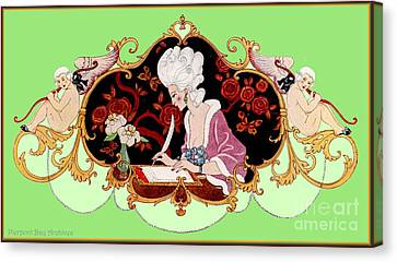 George Barbier. Lady Writing A Letter With Cupid Cherubs. Frontis Canvas Print by Pierpont Bay Archives