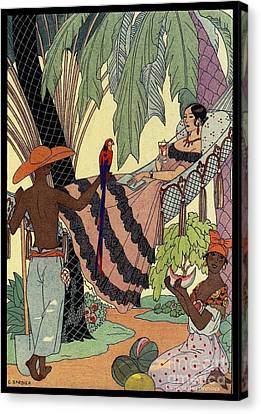 George Barbier. Spanish Lady In Hammoc With Parrot.  Canvas Print by Pierpont Bay Archives