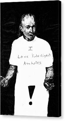 George Carlin Portrait Sketch Canvas Print by Kd Neeley