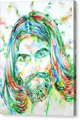 George Harrison Watercolor Portrait Canvas Print by Fabrizio Cassetta