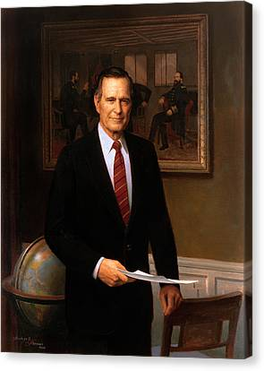 George Hw Bush Presidential Portrait Canvas Print by War Is Hell Store