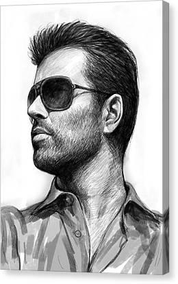George Michael Art Drawing Sketch Portrait Canvas Print by Kim Wang
