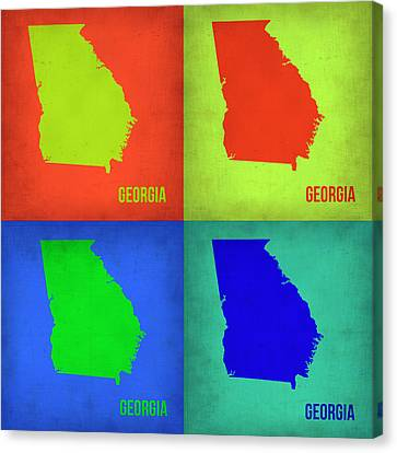 Georgia Pop Art Map 1 Canvas Print by Naxart Studio