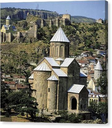Georgia. Tbilisi. Meteki Church Canvas Print by Everett