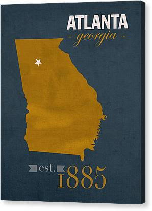 Georgia Tech University Yellow Jackets Atlanta College Town State Map Poster Series No 043 Canvas Print by Design Turnpike