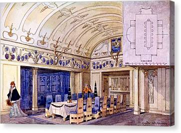 German Dining Hall, Early 20th Century Canvas Print by Gustave Halmhuber
