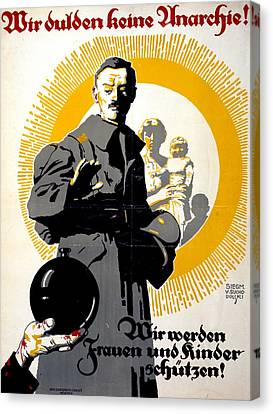 German Political Poster Shows A Soldier Standing In Front Of A Woman And Her Children Canvas Print by Anonymous