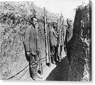 German Pows With Stretchers Canvas Print by Underwood Archives