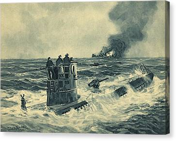 German U-boat Attack, World War II Canvas Print by Science Photo Library