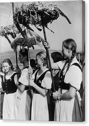 German Women Wearing Traditional Folk Canvas Print by Everett