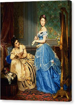 Getting Dressed, 1869 Canvas Print by Charles Edouard Boutibonne
