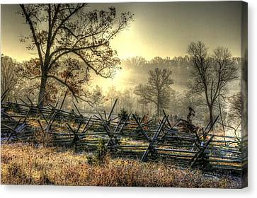 Gettysburg At Rest - Sunrise Over Northern Portion Of Little Round Top Canvas Print by Michael Mazaika