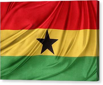Ghana Flag Canvas Print by Les Cunliffe