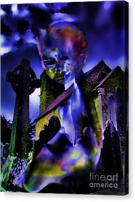 Ghost At A Cemetary Canvas Print by Alexandra Jordankova