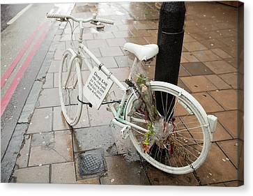 Ghost Bike Tribute To A Cyclist Canvas Print by Ashley Cooper