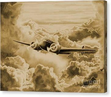 Ghost Flight- Amelia Earhart Sepia Canvas Print by Sarah Batalka